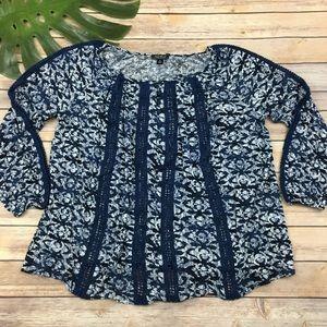 Lucky Brand blue floral crochet trim top